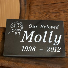 "Pet Marker: Black Granite 16""x10""x2"""
